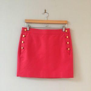 J Crew Mini Pencil Skirt Buttons Pockets Pink